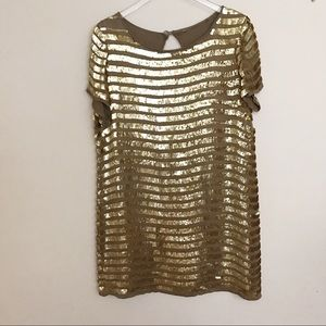 Sequined taupe/gold sequined dress keyhole back